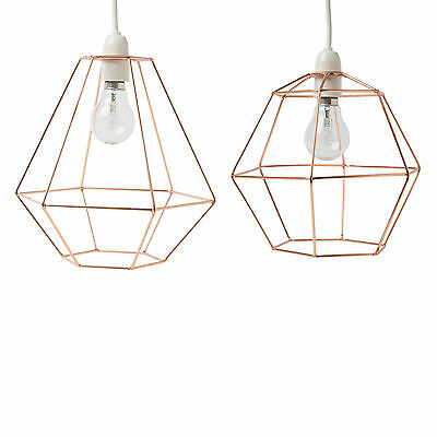 Geometric Metal Copper Wire Frame Ceiling Lampshade Pendant - Modern Retro Style