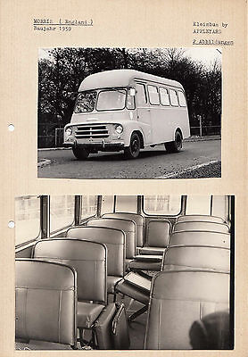 Two Morris Circa 1959 Kleninbus By Appleyard Peroid  Photograph Pasted To Card