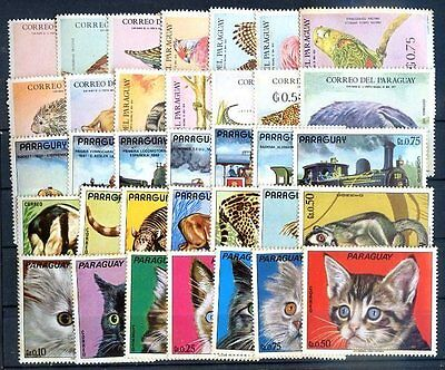 Paraguay 5 Definitive Complete Sets Mh, Without Air Stamps, Vf