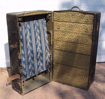Antique Early 1900's Henry Likly Steamer Wardrobe Travel Trunk USA Full Size