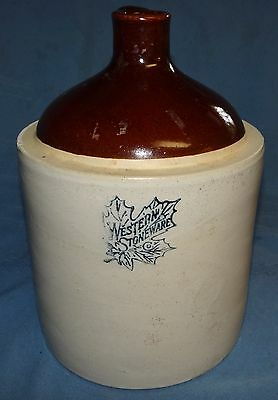Western Stoneware 1 Gallon Crock Jug Pottery Wiskey Moonshine Vtg Antique