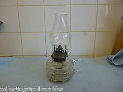 Beautiful Antique Glass Hand Held Oil Lamp