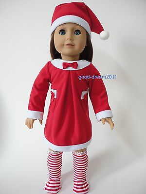 """wholesale American girl 18"""" Doll Clothes santa/Christmas dress socks outfit 4pc"""