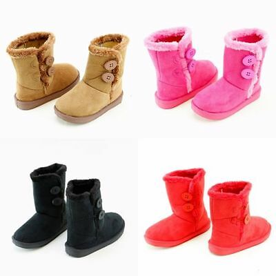 New Kids Fashion Boots Toddler Girls Cute Double Buttons Faux Fur Suede Shoes