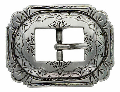 Western Equestrian Tack Engraved Cart Buckle Antique Silver Plated 1""