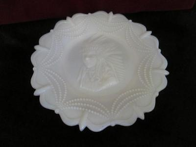 A9 WESTMORELAND Vintage Milk Glass Plate Indian Chief