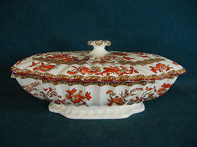 """Copeland Spode Indian India Tree Old Mark 11"""" Rectangular Covered Bowl with Lid"""