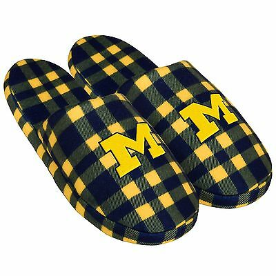 Pair of Michigan Wolverines Flannel Logo Slippers NEW - Plaid - House shoes!