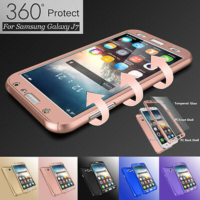 Hybrid 360° Full Protector Case Cover +Tempered Glass for Samsung Galaxy J7 2015