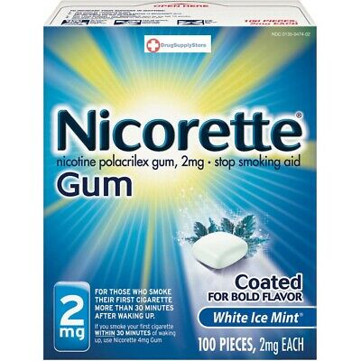 Nicorette Coated Gum 2mg Stop Smoking Aid, 100 pieces (Fresh Mint)