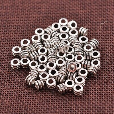 50//100Pcs Tibetan Silver Round Charm Spacer Beads 5X5MM E3138