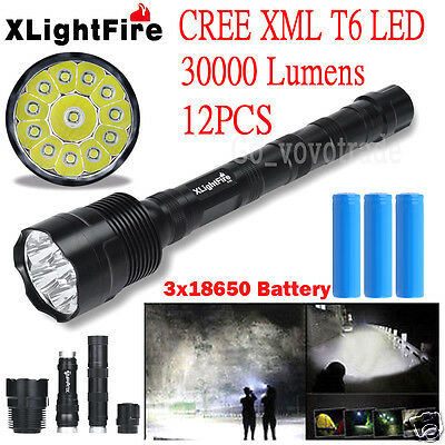 XLightFire 30000Lm 12x CREE XML T6 LED 5 Modes Flashlight Torch+3X 18650 Battery