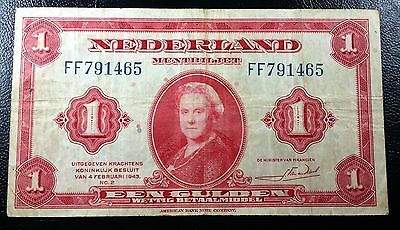NETHERLANDS: 1943 1 Gulden Banknote, P-64 **VF+ CONDITION**◢ FREE COMBINED S/H ◣