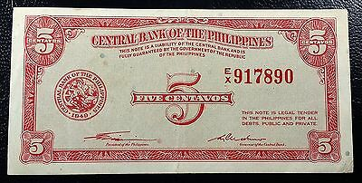 PHILIPPINES: 1949 5 Centavos Banknote, P-126, Nice Grade ◢ FREE COMBINED S/H ◣