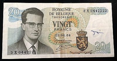 BELGIUM: 1964 20 Francs Banknote, *VF/XF CONDITION* P-138 ◢ FREE COMBINED S/H ◣