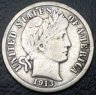 1913 Barber 90% Silver Dime, 10 Cents Coin, Nice Details ◢ FREE COMBINED S/H ◣