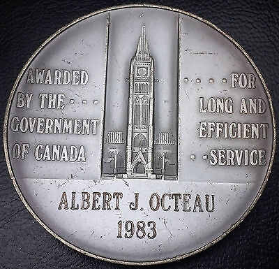 1983 CANADA LONG & EFFICIENT SERVICE AWARD MEDAL - 106g OF 925 SILVER - NAMED
