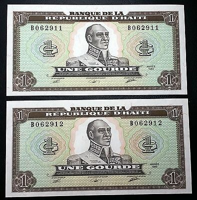 HAITI: 2 Consecutive 1989 1 Gourde Banknotes *UNC*- P-253 - FREE COMBINED S/H