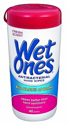 WET ONES Antibacterial Hand Wipes, Fresh Scent 40 Each (Pack of 2), New