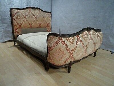 French Vintage double SIZE BED 4ft 6 CORBEILLE ANTIQUE SHABBY CHIC CHATEAU C1930