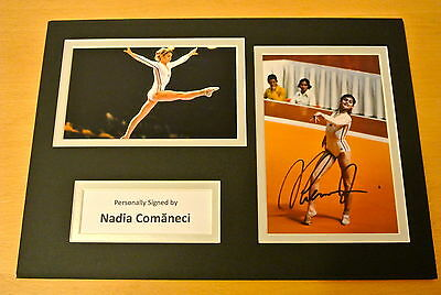 Nadia Comaneci Hand Signed Autograph A4 Photo Display & Coa Gymnastic Olympics