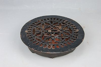 "Antique Machine Age Steampunk cast Iron Round Heat REGISTER VENT GRATE 11 1/2""D"