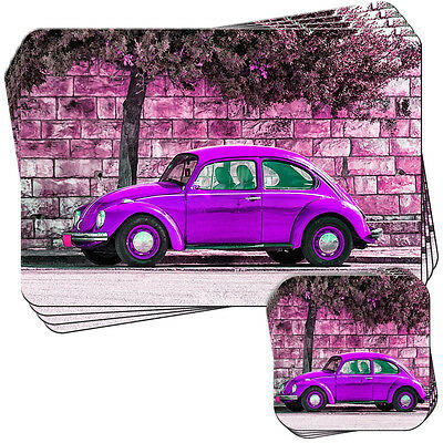 Old Classic Purple Beetle Car Set of 4 Placemats and Coasters