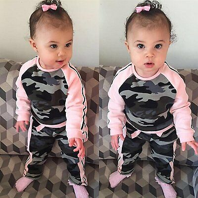 2pcs Newborn Baby Kids Girls Clothes T-shirt Tops+Pants Camouflage Outfits Set