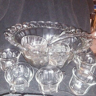 IMPERIAL CRYSTAL CROCHETED pattern PUNCH BOWL SET 14 PIECE SET