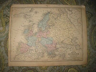 Antique 1858 Europe Handcolored Map Circassia Russia Prussia Germany France Nr