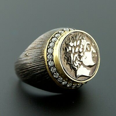 Black 925 Sterling Silver Gold Plated CZ Roman Coin Replica Ring Size 8 Unisex