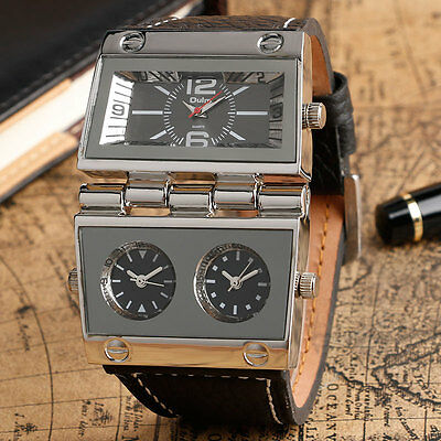 OULM Fashion Military Army Mens Wrist Watch Japan Quartz Multi Time Zone Leahter