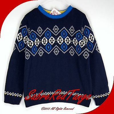 Nwt Hanna Andersson Swedish Nordic Sweater Navy Blue 110 6