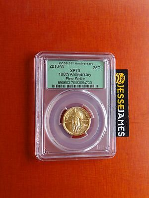 2016 W 25C Standing Liberty Gold Quarter Pcgs Sp70 100Th Ann First Strike Label