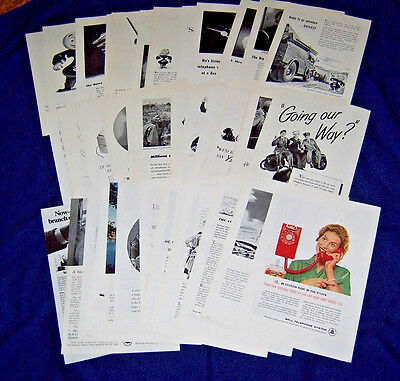 Lot of 40 Magazine Ads ~ AT&T Bell TELEPHONE System ~ 1942-1979 ~ Many are WWII