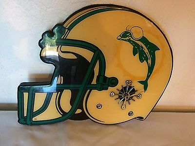 Vintage Miami Dolphins Helmet Wall Clock Plaque Battery Operated