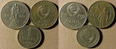 Russia Soviet : Lot 3 Coins 1 Rouble 1967;1964;1965  U101