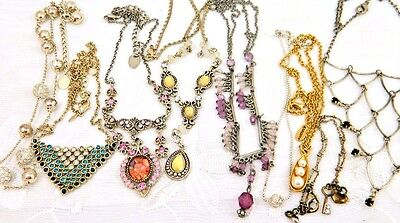Vintage & Modern Necklaces  Lot of 9 Rhinestone  Dangle MORE Some Signed