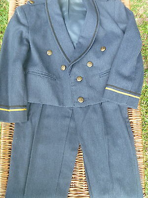 Vintage Michael James Boys Military Officer Style 2pc Suit Gold Trim Buttons 5 R