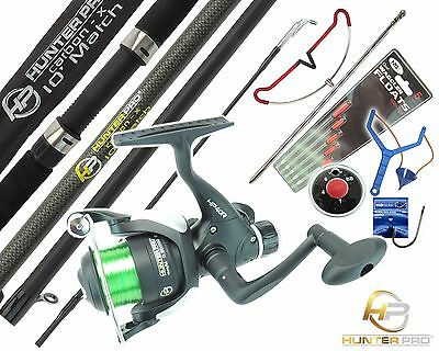 Complete Starter Fishing Kit Set. HUNTER PRO Carbon 10' Rod Reel Tackle Rod Rest