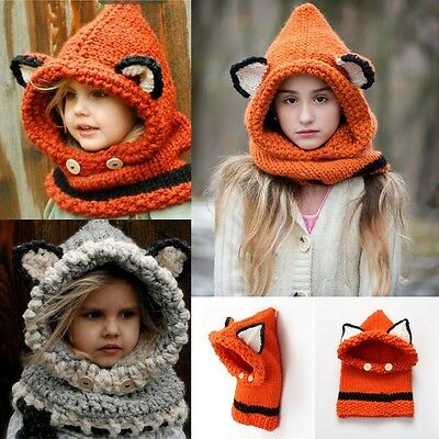 Kid/Adult Fox Crochet Knitted Wool Chunky Hood COWLS Hat / Scarf Winter Warm Cap