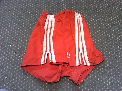 ADIDAS RARE 70s Cotton Sprinter Shorts Red / White Sz D7 #C06