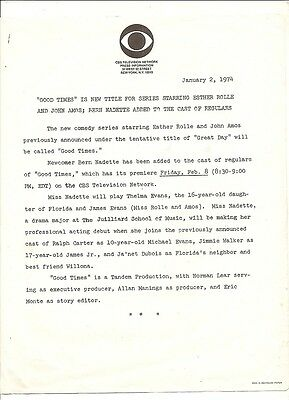 1974 press release introducing new show Good Times