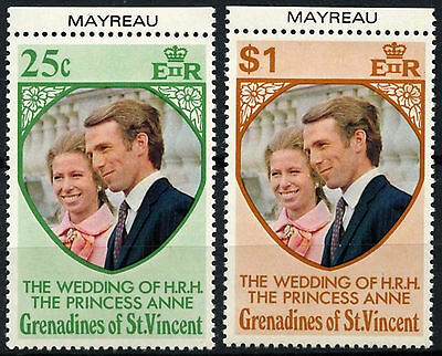 Grenadines St. Vincent 1973 SG#1-2 Royal Wedding MNH Set & Mayreau Tabs #D36274