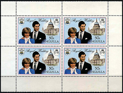Anguilla 1981 SG#468a 50c Royal Wed. MNH Booklet Pane Black Printed Twice#D35970