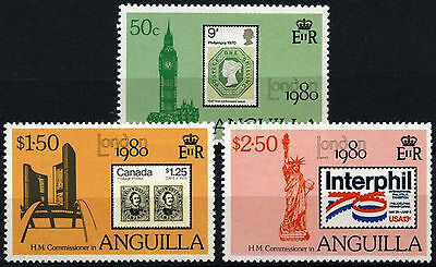 Anguilla 1980 SG#407-409 London Stamp Exhibition MNH Set #D35981