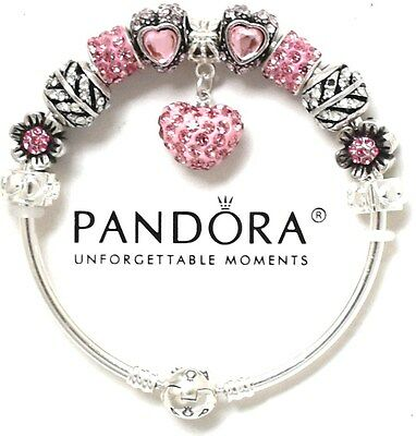 Authentic Pandora Bracelet Silver Bangle Pink Wife European Charms New