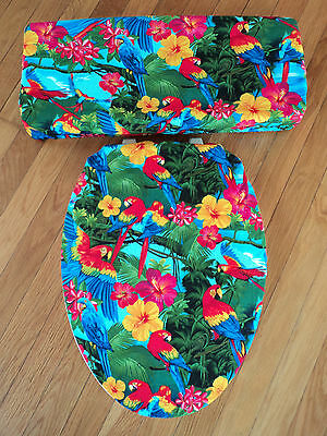 Blue Macaw Parrots Hibiscus Tropical Rain Forest Bathroom Toilet Seat Cover Set