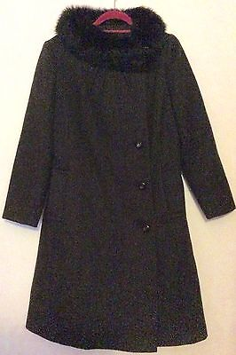 vintage 70s brown wool asymmetric buttoned sheepskin fur collar princess coat 14