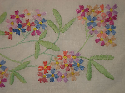 "Vintage 52""X 52"" Hand Embroidered Linen Tablecloth Multi-Coloured Flowers"
